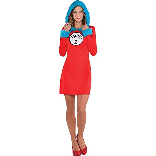 Kostüme USA Dr. Seuss Thing 1 & Thing 2 Kapuzenkleid Langarm Kleid für Damen, Standard, inkl. 2 Patches