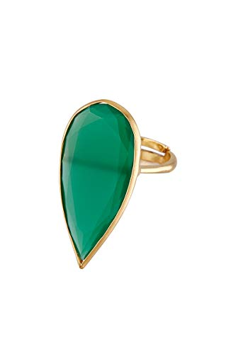 Córdoba Jewels | Sortija en Plata de Ley 925 bañada en Oro con Piedra semipreciosa con diseño Luxury Lágrima Esmeralda Gold