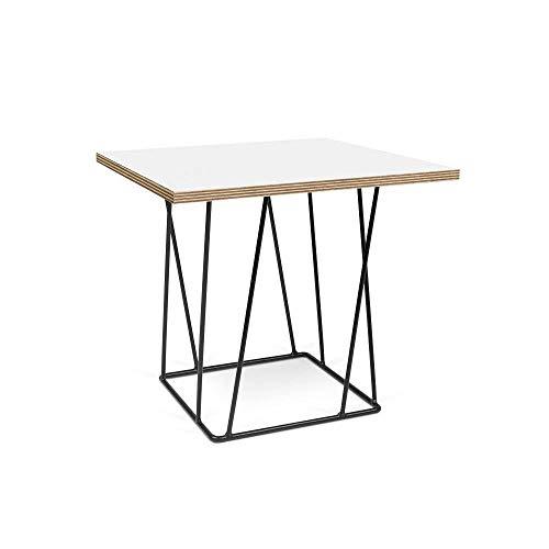 TemaHome Table Basse Helix 50 Plateau Blanc Mat/Bois Structure laquée Noire