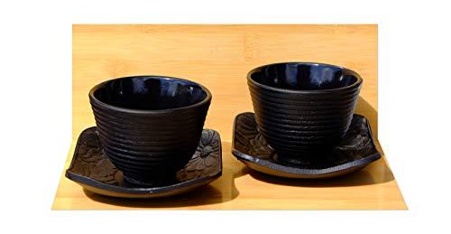en fonte Noir Ripple Tasses à thé et soucoupes de fleurs carré X2