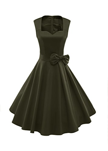 ILover Frauen 1950er Style Retro Rockabilly Schwingen Bogenknoten-Partei-Kleid, Green, (Girls Jahre 50er Kleider)