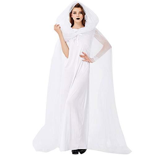 Kostüm Weiblichen Sensenmann - NCY Halloween Cosplay Weiße Hexe Zombie Ghost Devil Vampire Braut Sensenmann Kostüm Damen Mantel,Onesize
