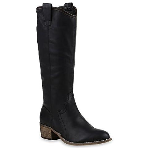 Damen Cowboy Stiefel Langschaft Western Boots Lederoptik Schuhe 128568 Schwarz 39 | Flandell