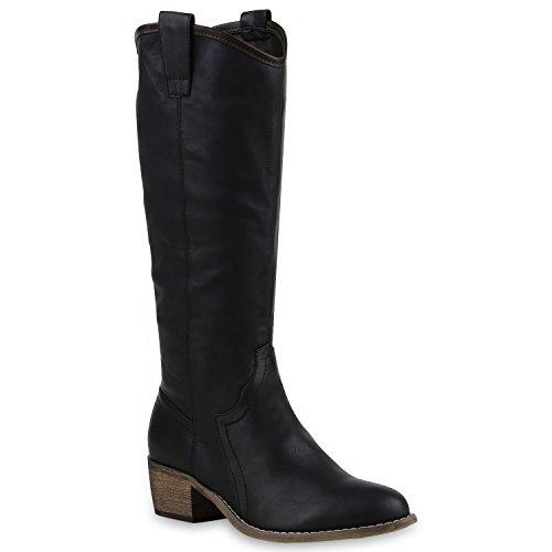 Damen Cowboy Stiefel Langschaft Western Boots Leder-Optik Schuhe 128568 Schwarz 37 Flandell