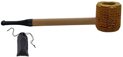 Kostüm Modelle Populare - GERMANUS Original Corncob Pfeife - Shag Pfeife auch für Feinschnitt, Gerade - Tabakpfeife inkl. Pfeifenbeutel