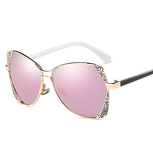 Honneury Damenmode Muster Box Bunte Outdoor Sonnenbrillen Polarisierte Sonnenbrillen (Farbe : Gold/Purple)