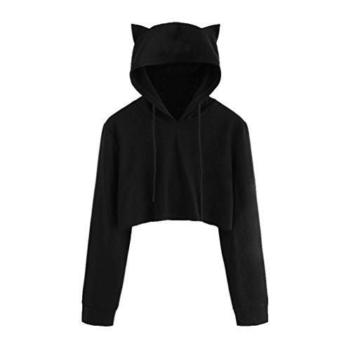 HOOUDO Damen Bluse, Damen Frauen Katzen Ohren langärmeligen Hoodie Sweatshirt mit Kapuze Pullover Shirt Sport beiläufige Lose Shirt (M, Schwarz)