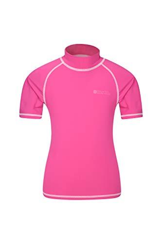 Mountain Warehouse Kurzarm Badeshirt für Kinder - LSF50+, Schwimmshirt, Flache Nähte, Rash Guard für Jungen & Mädchen - Für Schwimmen & unter einem Neoprenanzug leuchtendes Pink 164 (13 Jahre)