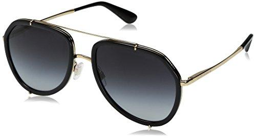 Dolce & Gabbana Damen 0DG2161 02/8G 55 Sonnenbrille, Schwarz (Black/Gold/Greygradient),