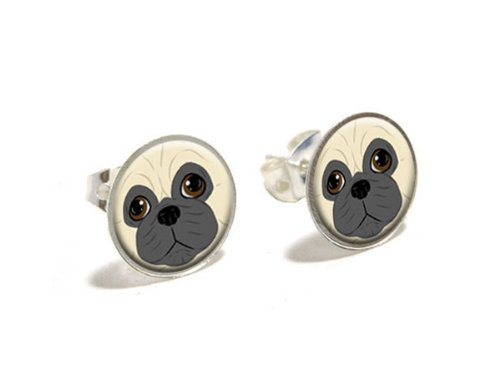 pug-face-dog-pet-novelty-silver-plated-stud-earrings