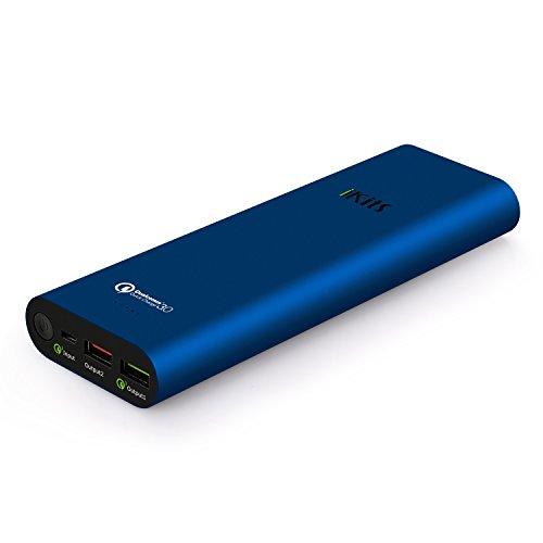 Cell [Qualcomm Certificado] iKits Panasonic batería de carga rápida 3.0 Banco de la energía de la batería externa 19200mAh paquete con entrada: QC3.0, Salida: 2.4A + QC2.0 para Samsung Google Nexus iPhone / iPad y más Azul
