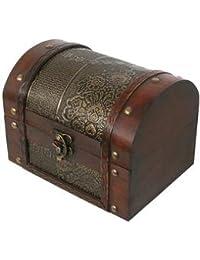 Cofre del tesoro de madera y piel, cofre del tesoro, tamaño grande, 18x 13x 13cm.