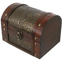 Thunderdog Big2 - scrigno petto scatola gabba pirata tesoro legno baule decorazione cassettina Baule porta gioielli artigianato 18x12x13cm