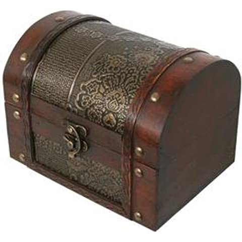 Thunderdog Big2 - scrigno petto scatola gabba pirata tesoro legno baule decorazione cassettina Baule porta (Bianco Bagagli Petto)