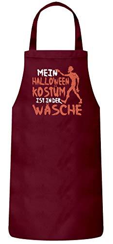 Zombie Gruppe Kostüm - ShirtStreet Grusel Gruppen Frauen Herren Barbecue Baumwoll Grillschürze Kochschürze Zombie - Mein Halloween Kostüm, Größe: OneSize,Burgund