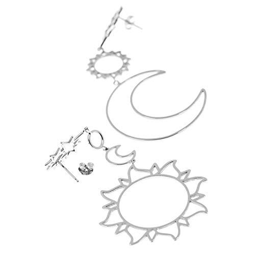 QMXGYREAKExquisite Frauen Ohrringe Böhmen Stern Sun Moon Hohl Ohrringe Metalllegierung Vintage GeometrischeAushöhlenOhrring Fine China B Vintage Fine China