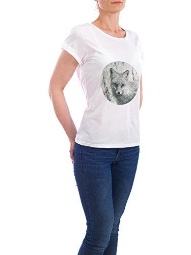 """Design T-Shirt Frauen Earth Positive """"Hello Fox"""" - stylisches Shirt Tiere Geometrie von Lexie Greer Weiß"""