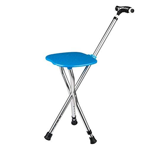 Tragbare Klapp Gehstock Stuhl Hocker Massage Gehstock mit Sitz Angeln Rest Hocker mit LED-Licht für ältere,Blue -