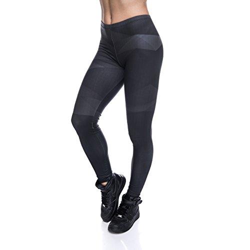 Who Cares Damen Sport Leggings Hipster Jogahose Muster Sporthose Mädchen Lang Treninganzug Blogger Fullprint Onesize Carbon