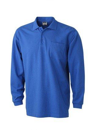 Herren Langarm-Polohemd mit Brusttasche, Farbe:royal;Größe:XL