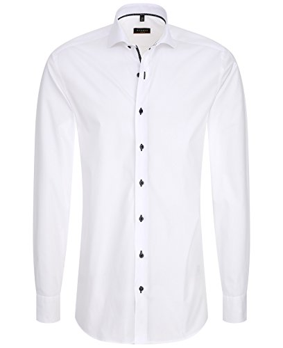 ETERNA Herren SLIM FIT LANGARMHEMD UNI STRETCH WEISS 38-H Normal Slim Fit (67cm)
