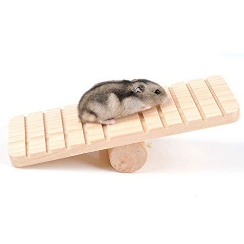 Kentop Hamster Wippe aus Holz,Hamster Zwerg Gerbil Maus Chinchillas Eichhörnchen Sport Spielzeug Zubehör Kleintiere Spielplatz Spielzeug