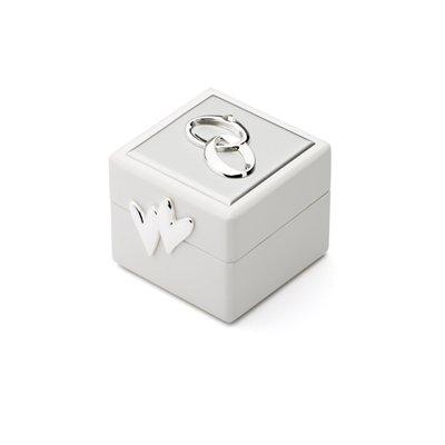 Zilverstad 7571261Bague Boîte Cube Cœur Double Anneaux Strass, Autre, argenté, 6.6x 6x 5,5cm