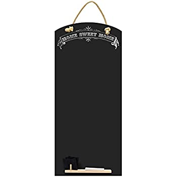 Kreidetafeln UK Sweet Home hoch dünn Kreidetafel/Tafel/Memo Küche Board mit  Seil, Tablett und Kreide, Design Range, Holz, schwarz, 60 x 26,5 x 1 cm