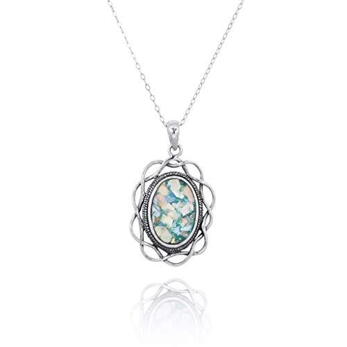 Oval römischer Glas Anhänger für Frauen massiv 925 Sterling Silber natürlichen Edelstein Schmuck -