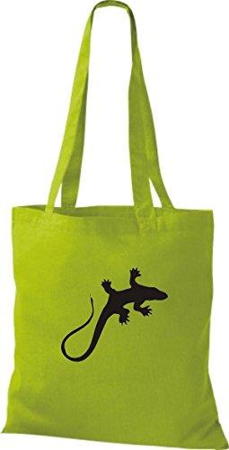 ShirtInStyle Stoffbeutel Gecko Echse Leguan Baumwolltasche Beutel, diverse Farbe kiwi
