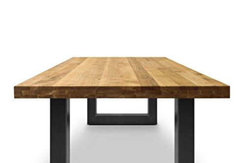 COMIFORT Mesa de comedor moderna de Roble macizo 120x75 cm y Patas ...