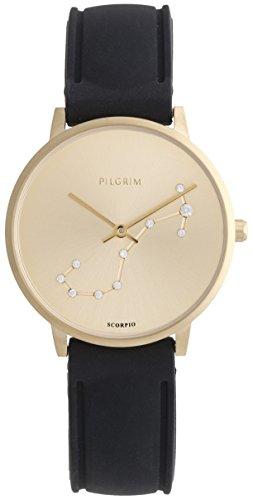 Pilgrim Damen Armbanduhr Sternzeichen Skorpion Silikon Vergoldet Schwarz
