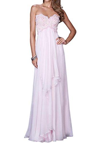 Royaldress Anmutig Spitze Herzausschnitt Traegerlos Abendkleider Abiballkleider Formale Partykleider Empire Lang Rosa