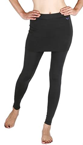 New 191 Skin Tights Compression Leggings Base Layer Black Skirt Pants Womens (L)