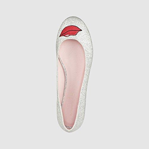 Mademoiselle R Frau Ballerinas Mit Applikation Silberfarben