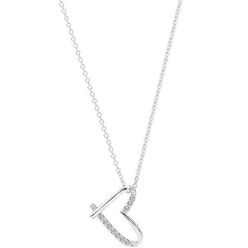 S-P 925 Sterling Silber Heart-Shaped Love Girl Herz Halskette Weibliche Modelle Schlüsselbein Kette (Sterling Silber Heart Shaped Ring)
