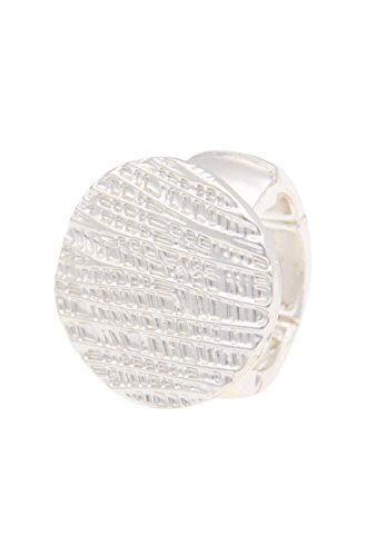 Leslii Damenring Streifenmuster Statement-Ring Muster-Ring silberner Modeschmuck-Ring Größe flexibel in Silber Matt