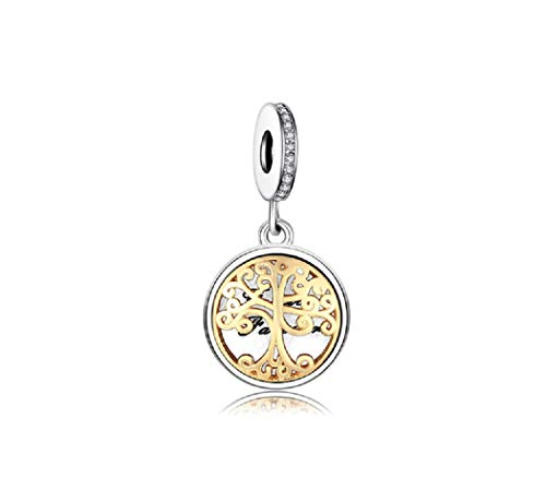 Featherwish, ciondolo a forma di albero in argento sterling 925 con zirconia cubica, per braccialetti pandora