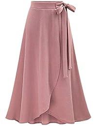 eec89d69c2 Falda De Mujer Swing Swing Cintura Alta Falda Elegante Clásico De Midi  Chicos Color Sólido Falda