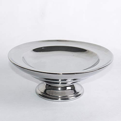 ecoSoul Rattan im Trend Bol décoratif Rond en céramique Argenté Hauteur 11 cm Diamètre 27 cm