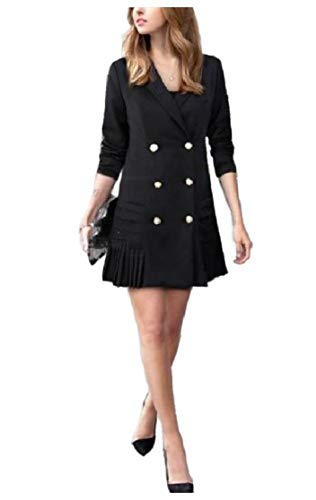 CuteRose Women Slim Fit Blazer Double-Breasted Wear to Work Trenchcoat Black M Double Breasted Coat Petite