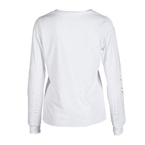 Letter Womens imprimé Sweat Casual manches longues Spacewadding Tops Blouse Blanc