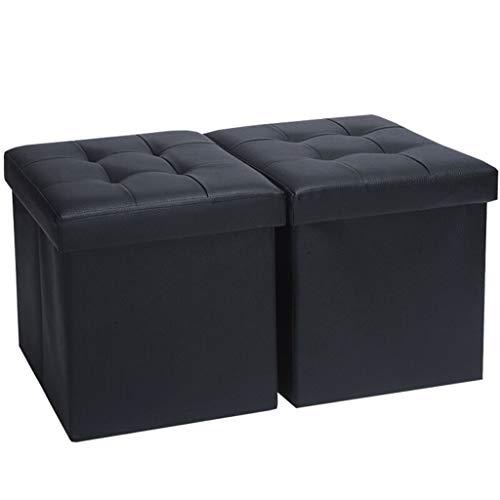 Osmanischer Klappsitz FJZ Leder multifunktions Aufbewahrungshocker Schwarz Kann Sitzen Erwachsene multifunktions Klapp Aufbewahrungsbox Ändern Schuh Bank 38 * 38 * 38 cm (2 Packs) Aufbewahrungshocker -