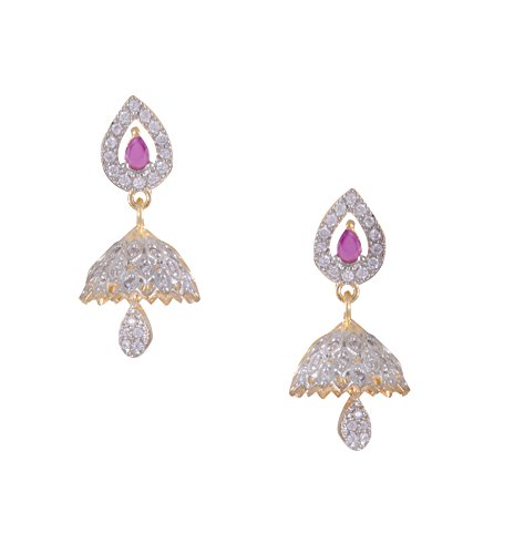 JNB Jewellers Pink American Diamond (AD) Copper Jhumki Earrings for Women and Girls