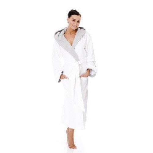 Egeria CAIRO Unisex Bademantel mit Kapuze für Damen und Herren, Farbe White, Größe S