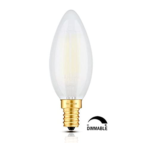 TAMAYKIM 6W Dimmable LED Filament Candle Light Bulb, 5000K Daylight (Bright White) 600LM, E14 Candelabra (Watt Torpedo Candelabra Base)