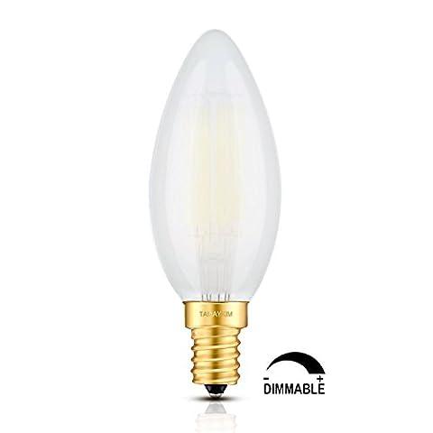 TAMAYKIM 6W Dimmable LED Filament Candle Light Bulb, 5000K Daylight