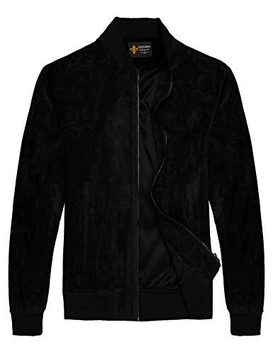 Coofandy Herren floral Suede Bomber-Lederjacke lässige Varsity Baseball-Mantel mittel schwarz Black Suede Varsity Jacket