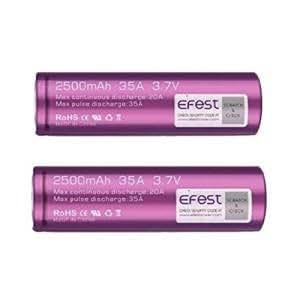 Efest 2 véritable Violet 18650 2500mAh 35A IMR Piles rechargeables piles bouton, testé indépendamment de protection rigide