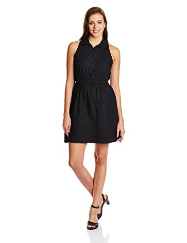 People Women's Cotton A-Line Dress (P20402064961100_Black_M)  available at amazon for Rs.549